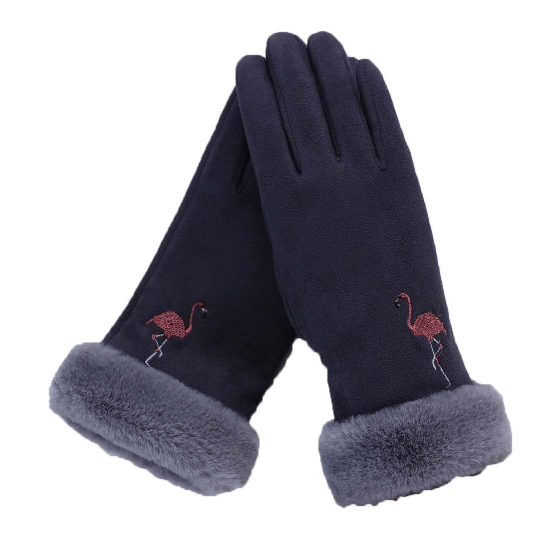 Yingniao Womens Touch Screen Glove motorcycle driving Winter warmer windproof thick lined Mittens (Black)