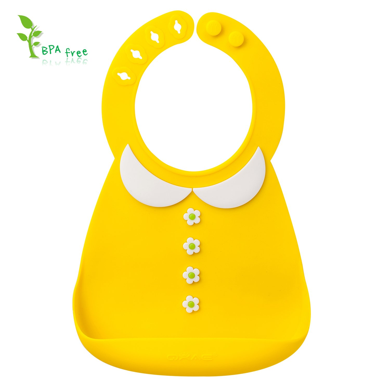 Baby Bibs-Cute Soft & Comfortable Silicone Bib for Toddlers Babies with Large Pocket as a Food Catcher Bib (Yellow Doll Collar)