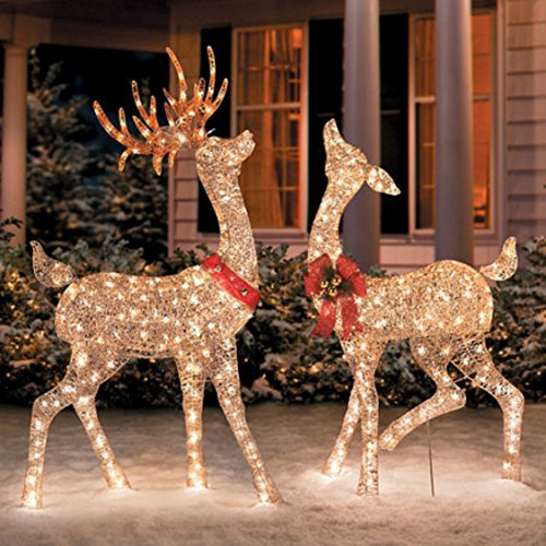 Glittering Champagne Reindeer Holiday Christmas Outdoor Decorations by