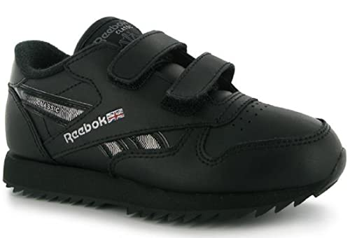 86fcf903171 Boys Reebok Classic Etched Trainers Shoes - Black Silver (UK C10   EU 27