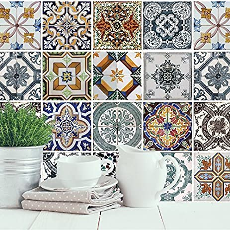 wall stickers mediterranean tiles 4 packs removable self adhesive wall mural art