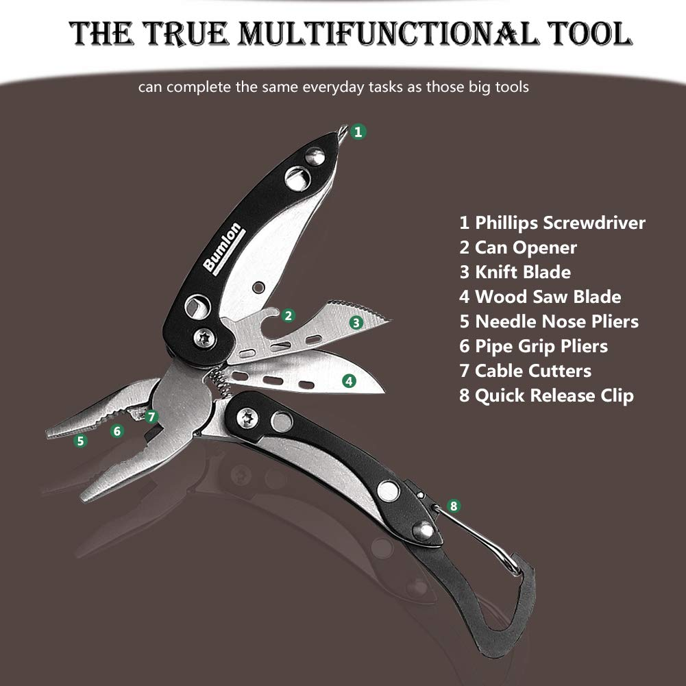 Multitool Plier Folding Pocket Knife 8 in 1 with Pliers,Screwdriver, Cutter, Keychain, Sheath, Mini Stainless Steel Survival Tool for Camping, Fishing