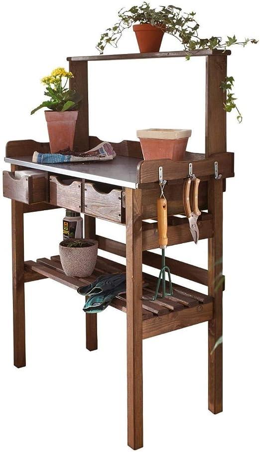 Pureday Mesa de plantación para balcón terraza jardín - 3 cajones - 3 Ganchos - Madera - Superficie de Trabajo de Metal galvanizado - marrón - Aprox. 78 x 38 x 112 cm: Amazon.es: Jardín