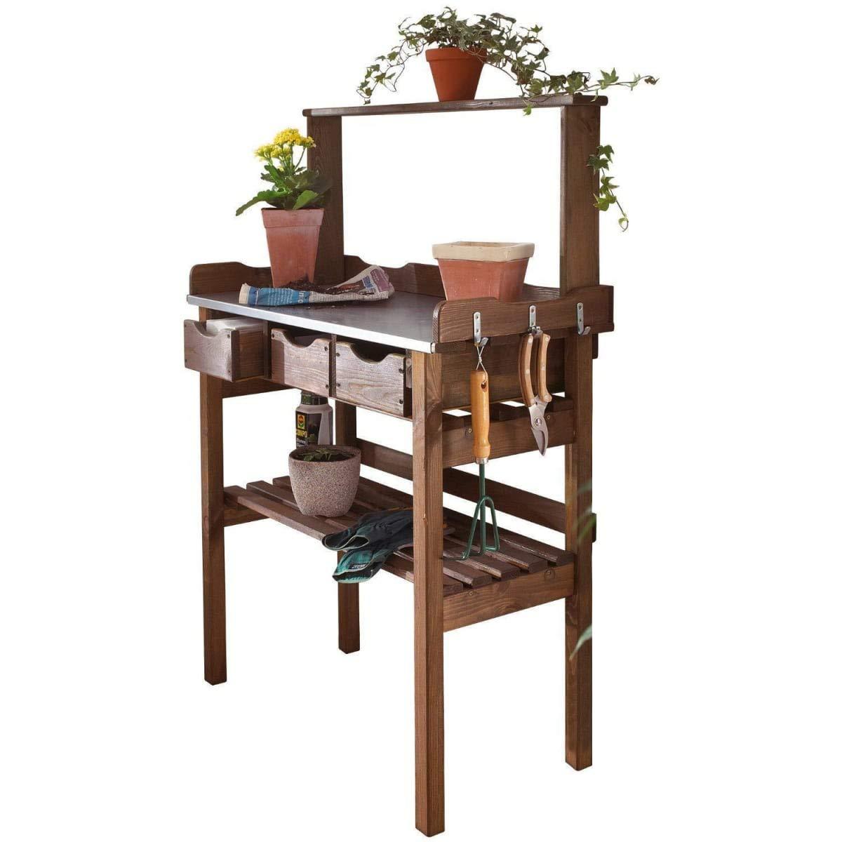 Pflanztisch für Garten Terrasse Balkon 3 Schubladen 3 Haken Holz verzinkte Metall-Arbeitsfläche braun ca. 78 x 38 x 112 cm PureDay