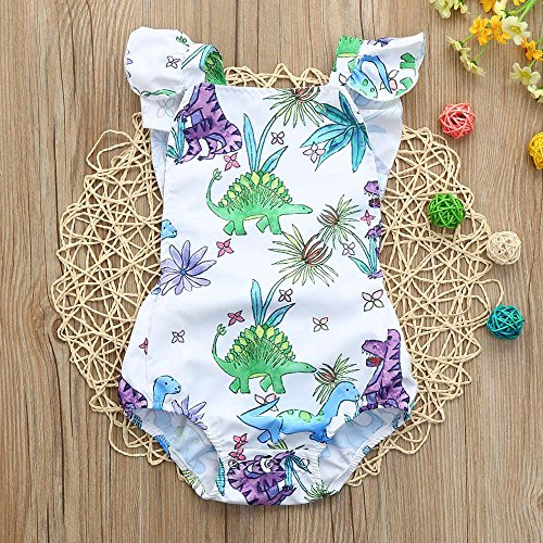 8cd89316c316 Toddler Infant Baby Girl Dinosaur Floral Romper Jumpsuit Animal Outfit  Summer Clothes Yamally (6-12 Months
