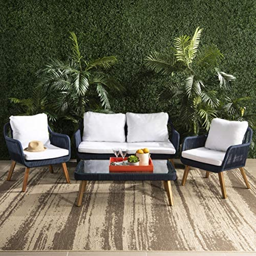 Safavieh PAT6757B Collection Aldric Natural 4 Pc Outdoor Set