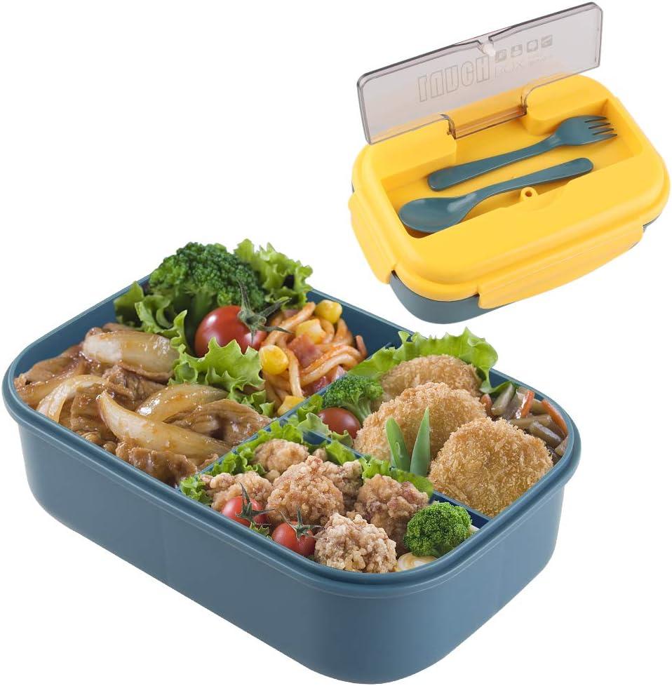 Fiambrera de Seguridad de Trigo Natural de 1100 ml Caja de Bento con Compartimentos, Bento Box para Niños, Fiambreras Bento,Lunch Box y Ideal Food Box para Niños y Adultos Snacks (Yellow blue)