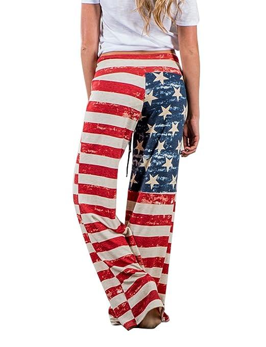 1d15bb952003 Women's American Flag Pants Loose USA Flag Patriotic Baggy Yoga Long Wide  Leg July 4th Leggings