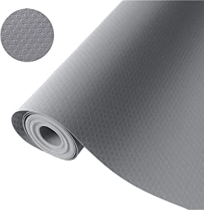 """Bloss Plastic Shelf and Drawer Liner,Non Adhesive Waterproof roll(17.7""""×59""""), for Cabinets, Storage, Kitchen,Desks,Deco Shelf Liners with Grey"""