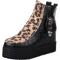 Logobeing Botas Mujer Invierno, Botas de Mujer Casual Antideslizantes Zapatos Mujer Botines Mujer Tacon Martin Leopard Cremallera Cuñas Zapatos Hebilla con Correa Botines