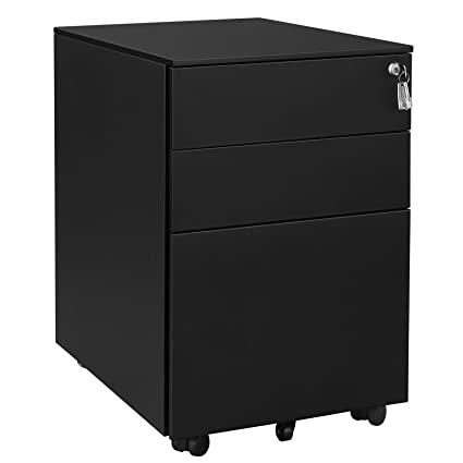 Amazon.com: SONGMICS Steel File Cabinet 3 Drawer with Lock Mobile Pedestal Under Desk Fully Assembled Except Casters Black UOFC60BK: Kitchen & Dining