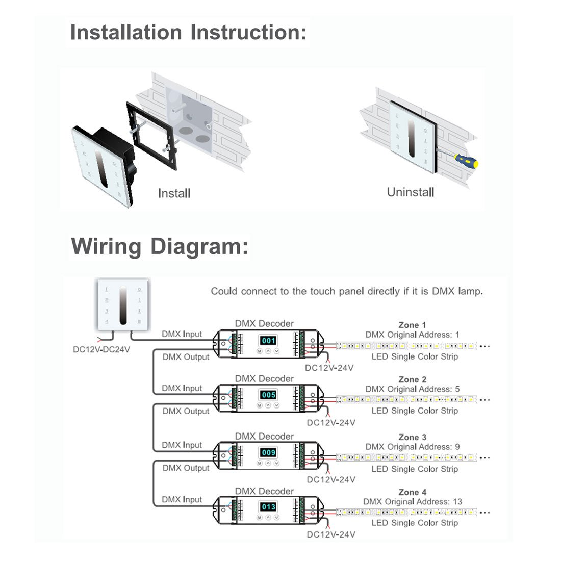 61vBlO04WFL._SL1100_ amazon com uxcell wall mount dc12 24v touch panel singlar color