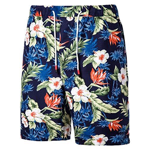 - Men's Summer Loose Shorts, Mmnote Elastic Simple Original Pattern Belt Sweat Comfortable Shorts,E-Blue