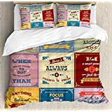 Quotes Decor Duvet Cover Set by Ambesonne, Collection of Motivational Quotes Success Positive Attitude themed Artwork Print, 3 Piece Bedding Set with Pillow Shams, Queen / Full, Pink Yellow