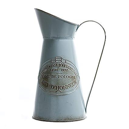 Vancore Vintage France Style Metal Pitcher Flower Vase Decorative