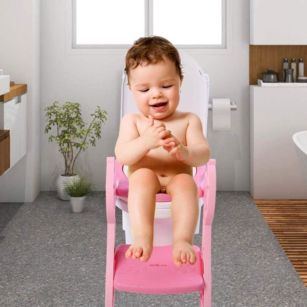 Wakects Pot B/éb/é Toilette Si/ège de Pot Toilette avec Poign/ée Protection Contre /Éclaboussures Conception Antid/érapants R/éducteur de WC Design Amusant Ergonomique Plastique Rose 39.5 x 36.5 cm