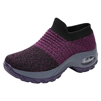 PresaNew Women's Tennis Shoes Breathable Running Shoes Walking Shoes Fashion Sneakers Purple | Road Running
