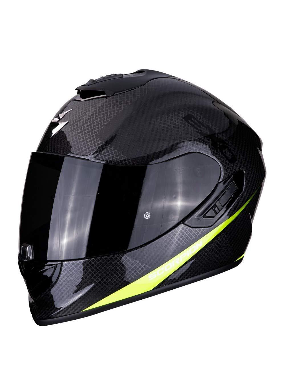 Scorpion EXO-1400 Casque int/égral en fibre de carbone jaune fluo pour scooter moto avec visi/ère int/érieure SpeedView solaire r/étractable protection coque ext/érieure TCT M
