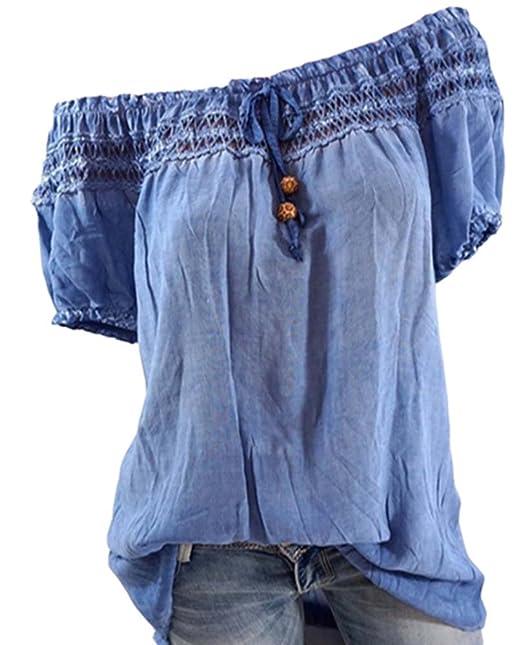 hellomiko Blusa Gitana con Hombros Descubiertos Blusa con Hombros Descubiertos Blusas Sueltas de Verano