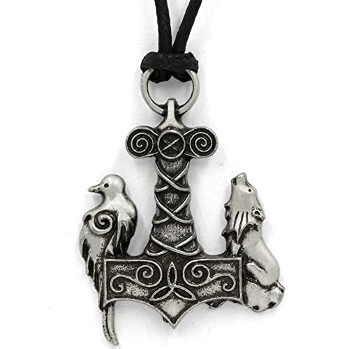 Ttkp norse odin thors hammer mjolnir viking viking wolf and raven ttkp norse odin thors hammer mjolnir viking viking wolf and raven pendant ancient birds necklace aloadofball Gallery