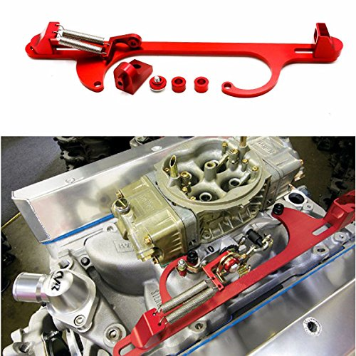 Chevy Throttle Cable (RANK Holley 4150 4160 Aluminum Throttle Cable Carb Bracket Carburetor 350 SBC Red)