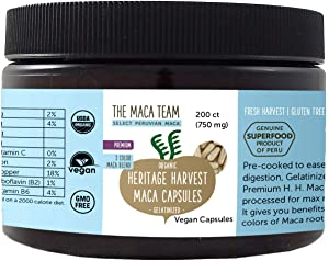 The Maca Team Gelatinized Premium Organic Maca Root Capsules – Certified Organic, GMO- and Gluten-Free, 750 mg, 200 Ct