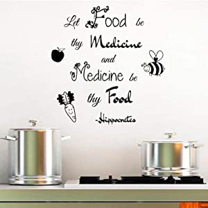 wsydd Let Food Be Thy Medicine Wall Letters Stickers Art Wall Decals Kitchen Restaurant Living Room Vinyl Home Decor 56x57cm