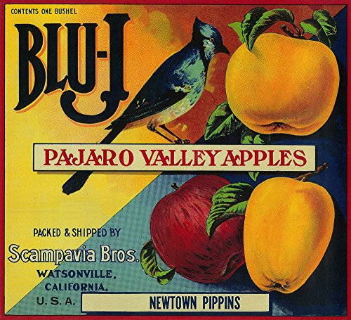 Blu-J Apple - Vintage Crate Label (12x18 SIGNED Print Master Art Print w/ Certificate of Authenticity - Wall Decor Travel Poster)