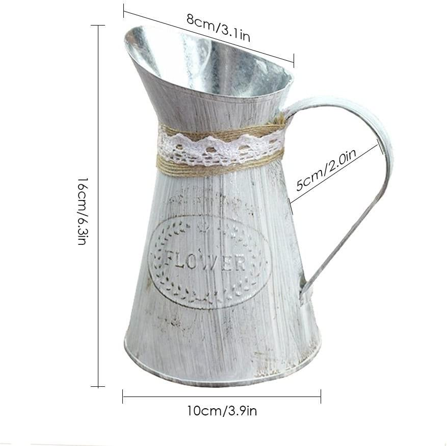 Goodshare Primitive Jug Vase French Style Country Rustic Pitcher Vase Galvanized Milk Can with Handle for Wedding Home Office Cafe Decor Lovable