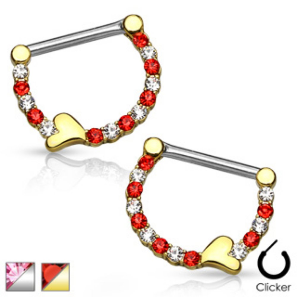 Pair of Lined Crystals with Heart 316L Surgical Steel WildKlass Nipple Clickers