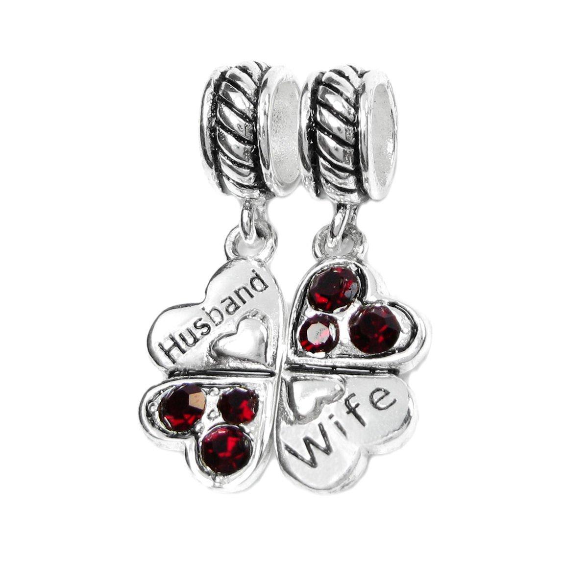 925 Sterling Silver Husband Wife Red Rhinestone Clover Heart European Dangle Charm