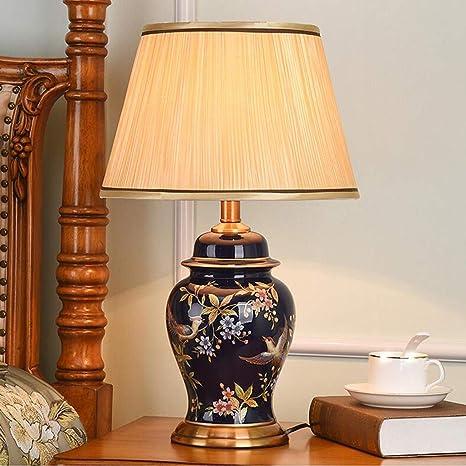 LFS Pantalla de tela clásica Lámpara de mesa de cerámica ...