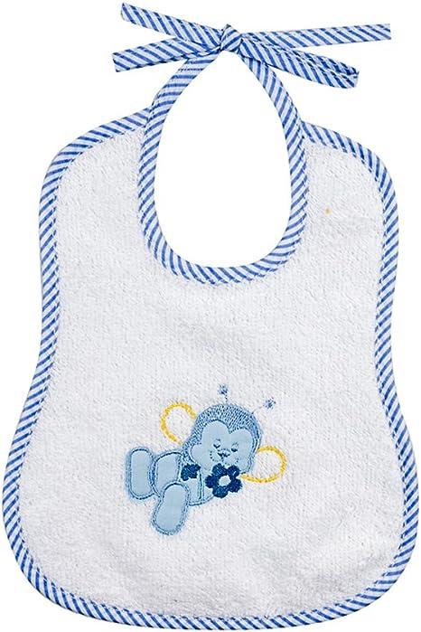 Babero Maga cm.19 x 23 con cordones – Rizo 100% algodón – Bordado – colores: rosa/azul azul claro: Amazon.es: Bebé
