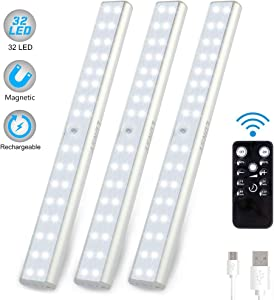 LUNSY 32LED Under Cabinet Lighting Rechargeable, 220lm, Wireless Closet Light with Remote, Counter Shelf Magnetic Lights -3Pack