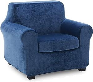 TIANSHU 2 Piece Velvet Armchair Cover, Soft Plush Chair Cover for Living Room, Stylish Fleece Furniture Covers, Non-Slip High Stretch Armchair Slipover.(Chair, Aegean Blue)