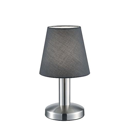 TRIO, Lampe de table, Mats 1xE14, max.40,0 W Tissu, Gris, Corps: metal, Nickel mat Ø:14,0cm, H:24,5cm IP20,Interrupteur tactile 4 niveaux