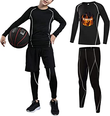 Boys Athletic Base Layer Compression Underwear Set 2pcs Thermal Long John for Kids
