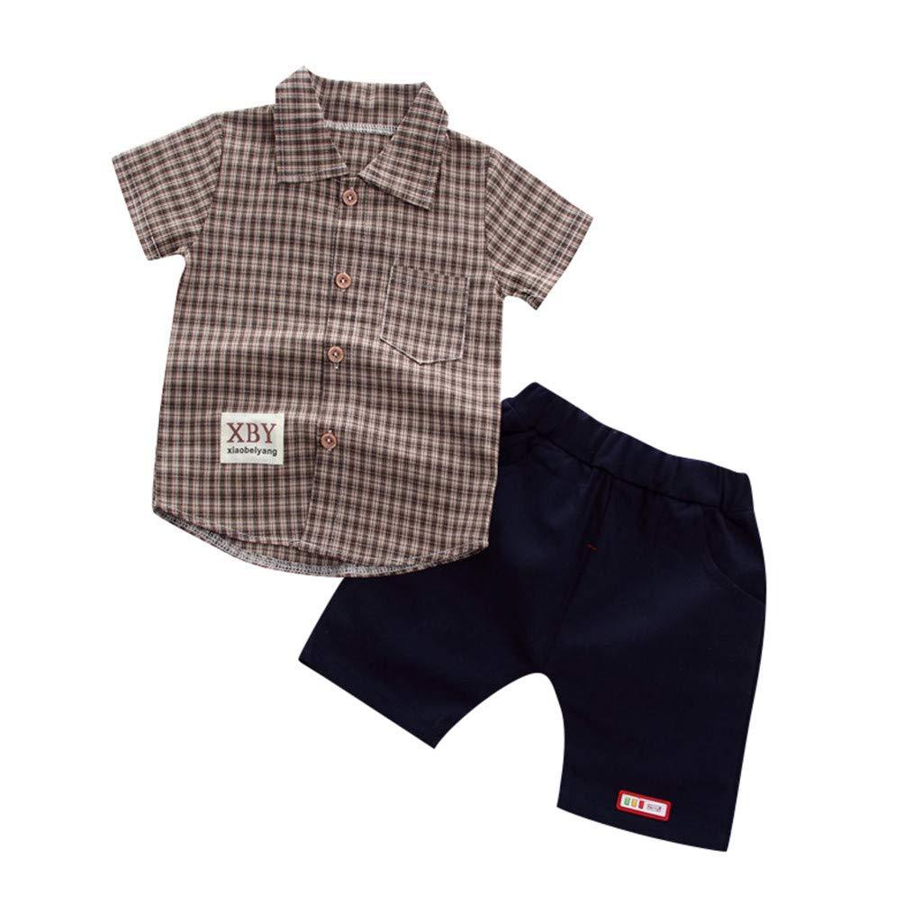XXYsm Kleinkind Baby Jungen Gentleman Outfits Kurzarm Kariertes Hemd + Denim Shorts Sets