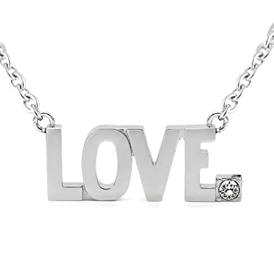 4d2df3600 Image Unavailable. Image not available for. Color: Controse LOVE Pendant  Block Letter Necklace with Swarovski Crystal