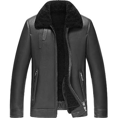 3039f300cc76 Denny Dora Men s Shearling Coat Black Color Flight Jacket B3 B2 Sheepskin  Coat Leather Jacket for Men