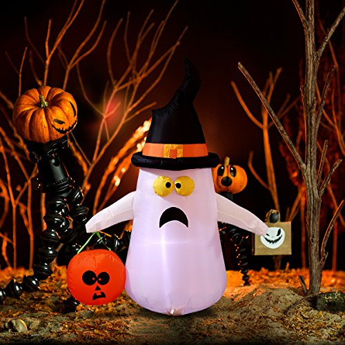 YUNLIGHTS 4 Foot Halloween Inflatable Ghost, Air Blown Ghost with White LED Lights for Outdoor and Indoor Decoration, Lighted Halloween Deco for Yard/Patio/Garden (A Beautiful Lawn Doesn T Happen By Itself)