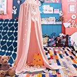 Samyoung Kids Bed Canopy Mosquito Net Witch Hat Style Round Dome Bed Canopy Screen Mantle Bed Curtain Tent Cotton Cloth Hanging Mosquito Net for Cotton Canvas(Pink)