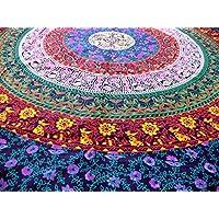 Marubhumi Hippy Mandala tapices bohemios, decoración de dormitorio indio, tapicería psicodélica Tapiz decorativo étnico colgante (85 x 55 pulgadas, púrpura multi)