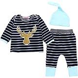 Little Hand 3pcs/Set Newborn Infant Baby Boys Girls Striped Long Sleeve Deer Tops Pants Hat Outfits
