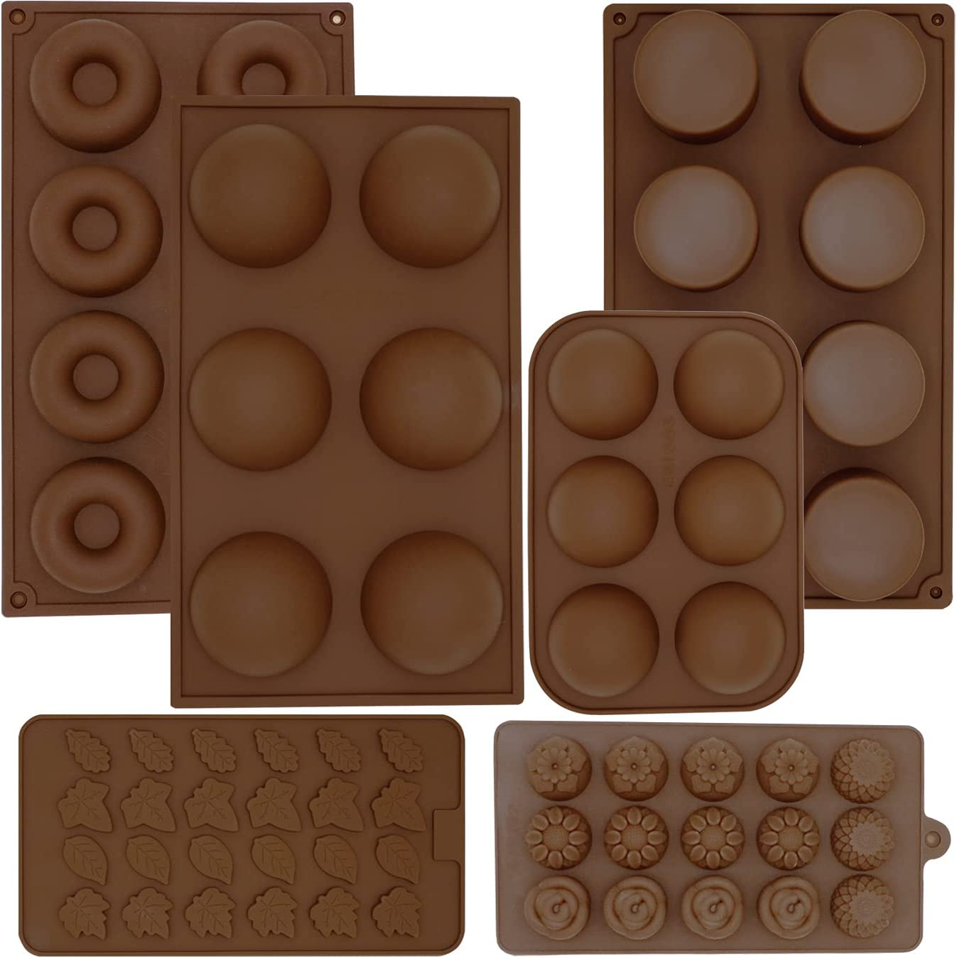 6Pcs Chocolate Molds Silicone, Chocolate Cover Hot Chocolate Bomb Mold, Round Cylinder Candy Melts Jello Mold, Edible Flower/Leaves Polymer Clay Mold for Cake Decorating, Donut Pan Cookies Baking Tool