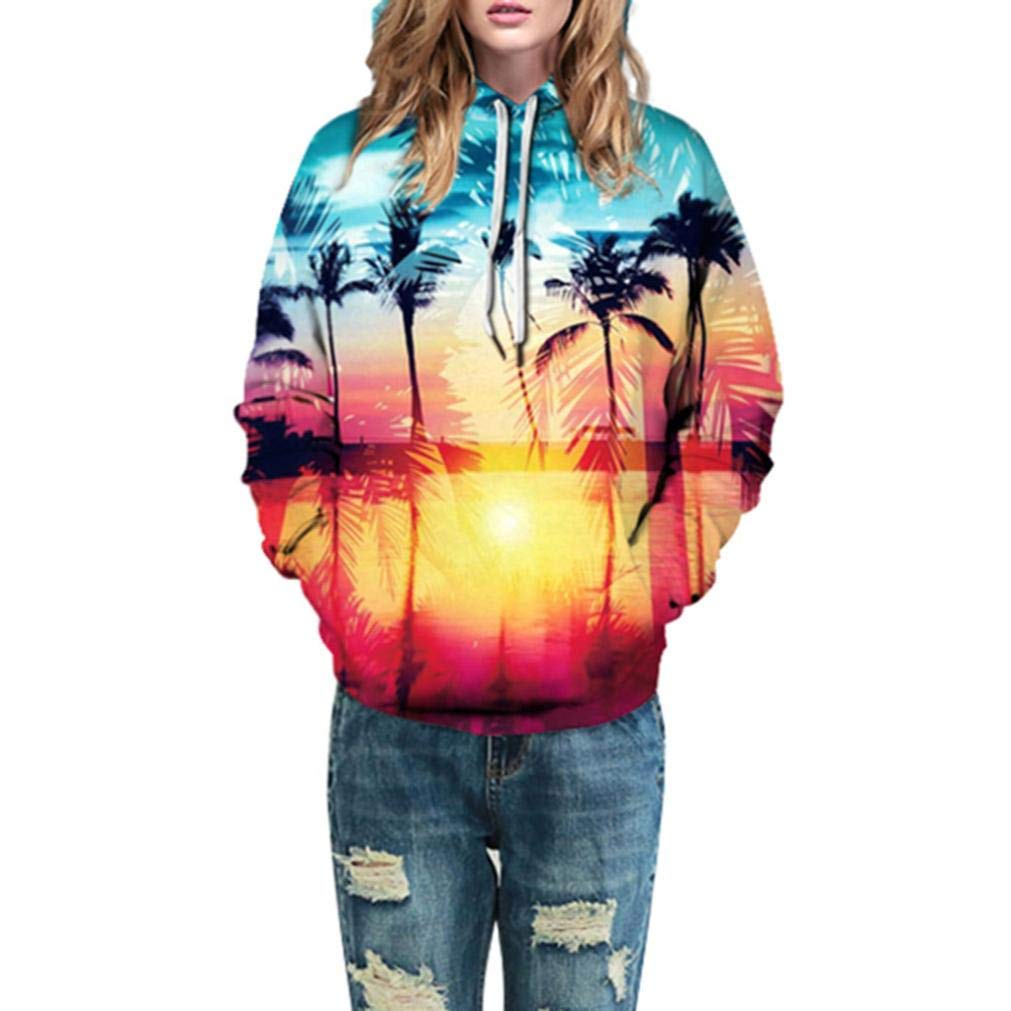 HTHJSCO Women Casual Shirts Blouse Tops, Autumn Winter 3D Printing Long Sleeve Caps Sweatshirt Top Blouse (Multicolor, L/XL)