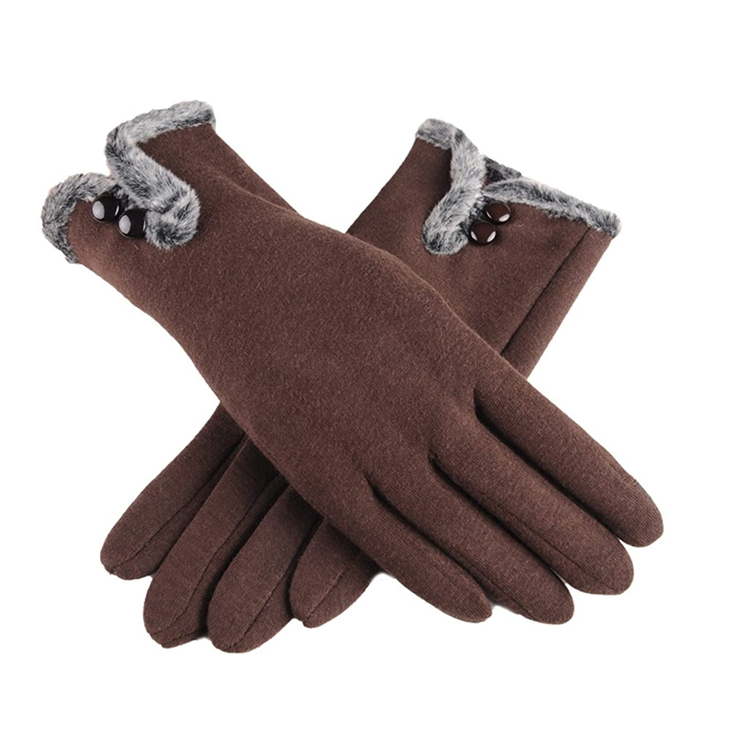 556d87b93 Women's NEW Fashion Touch Screen Warm Winter Thick Gloves With Button