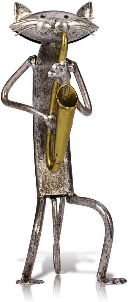 Tooarts Escultura de metal gato con guitarra figurita regalos para ...