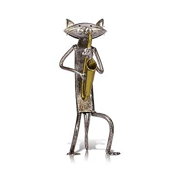 TOOARTS - Adorno Decorativo - Punk Gato - Obra de Artesanía Hecha a Mano de Hierro para la Decoración del Hogar Habitación Oficina Salón Bar Barra: ...