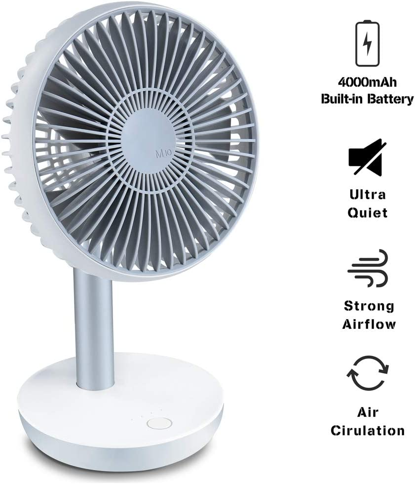 Ayslen M10 USB Desk Fan Portable, Personal Table Fan with Adjustable Angle and 4 Speeds, Ultra-Quiet, Air Circulation, Built-in Rechargable 4000mAh Battery for Office, Home, Outdoor, Mini Fan, White